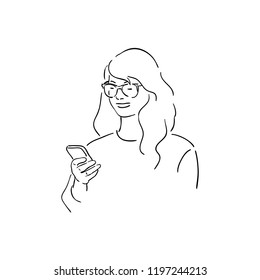 vector illustration of a young girl looking at a phone, linear design