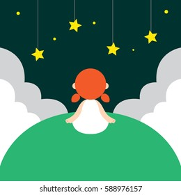 Vector illustration of a young girl looking at night sky filled with star on a green hill. A concept image representing young children's dream and fascination with space