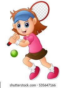 Vector illustration of Young girl playing tennis on a white background