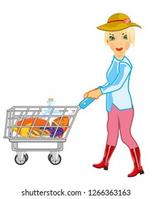 Vector illustration of the young girl with pushcart of the full products