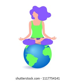 vector illustration of a young girl sitting in a lotus pose on the globe, flat design