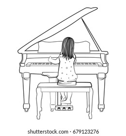 Piano Drawing Images Stock Photos Vectors Shutterstock If you're using java/swing, your best bet would be to draw an image of a keyboard and map click locations to the individual keyboard keys. https www shutterstock com image vector vector illustration young girl sitting on 679123276