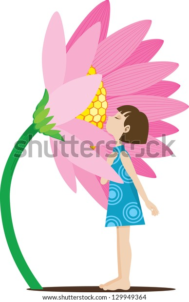 A vector illustration of a young girl smelling a flower, enjoying a quiet, relaxed moment with nature.