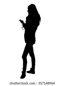 The vector illustration of  young girl who phoned - talking on a mobile phone  - for , web games, tablets, wallpapers, and patterns - silhouette,