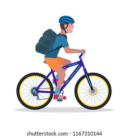 Vector illustration of a young guy with a backpack and wearing a helmet rides a mountain bike. Isolated white background. The man on a bicycle. Flat style.