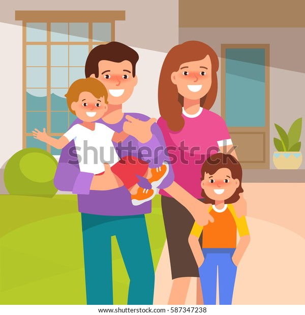 Vector illustration of a young happy family in the yard of his house in front. Father, mother, son and daughter standing together in flat style