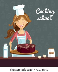 Vector illustration with young happy woman baking chocolate cherry cake on dark background with doodle cupcakes. Poster and card template for culinary classes and cooking school.
