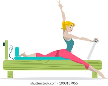 vector illustration - young lady doing Pilates exercise on a Reformer