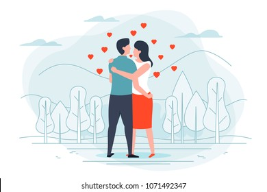 Vector illustration - young loving couple in park, with forest, trees and hills on background. Banner, poster template with place for your text.