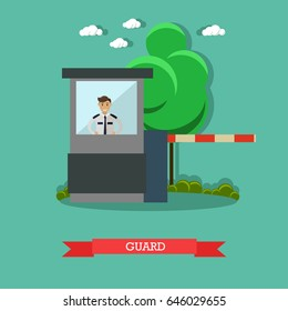 Vector illustration of young male parking assistance or parking attendant standing inside of guard booth. Car guard concept design element in flat style.