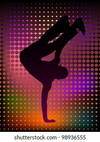 Vector illustration of a young man breakdancer