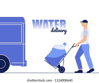 vector illustration of a young man brings a bottle of water, delivering water, flat design