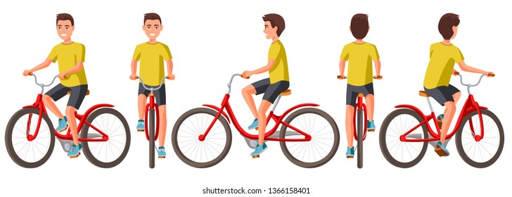 3c749f651b6 Vector illustration of young man in casual clothes riding bicycle .Cartoon  realistic people illustration.