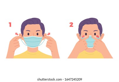 vector illustration of young man demonstrating or giving examples of wearing health masks on the face