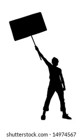 vector illustration of a young man holding a blank sign