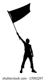 vector illustration of a young man holding a flag