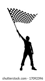 vector illustration of a young man holding a black and white checkered flag