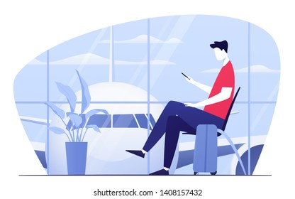 Vector illustration of a young man with phone sitting in the departure lounge at the airport.