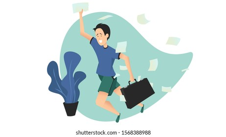 Vector illustration of a young man running in a hurry with a briefcase in a messy room. Student late for classes