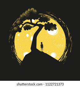 Vector illustration with young man silhouette standing on the hill, yellow moon and black tree