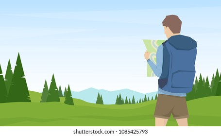 Vector illustration: Young man traveler and hiker looks on map on summer mountains landscape background