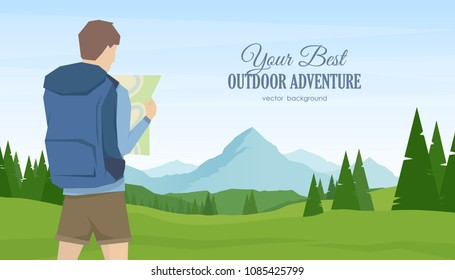 Vector illustration: Young man traveler and hiker with map in the hands on summer mountains landscape background