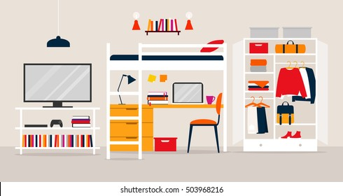 Vector illustration of the young man's room. Flat design illustration