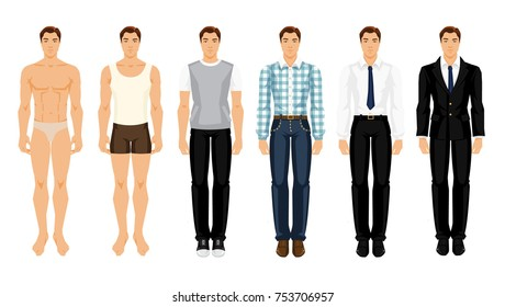 Vector illustration of young men in different clothes on white background