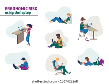 Vector illustration of young men and women who are working at home with laptops, in a bad posture for back, eyes, shoulders and neck. Representation of the ergonomic risk in remote work.