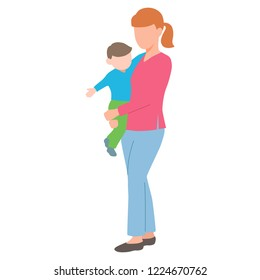 Vector illustration of a young mother holding her baby. Isolated white background. Mom stands and holds the child in her arms. Flat style.