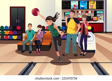 A vector illustration of young people at bowling