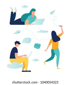 vector illustration, young people communicate through internet instant messengers, vector graphics group of people working with each other. friends' correspondence