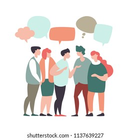 Vector illustration young people communicate, interact, discuss with speech bubbles in modern design style. Concept of teamwork, social networks, global communication