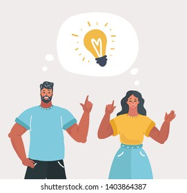 Vector illustration of Young people have idea. Couple having solution, ideas lamp bulb metaphor in speech bubble above. Solved question. Creative thinking. Man and woman on white background.