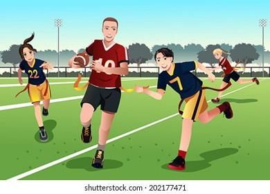 A vector illustration of young people playing flag football