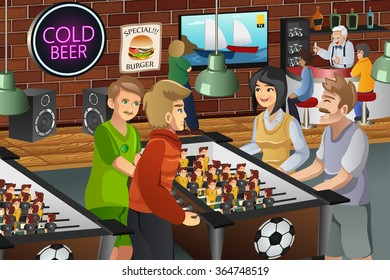 A vector illustration of young people playing foosball in a bar