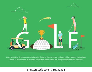 Vector illustration of young people playing Golf.