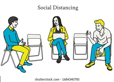 Vector illustration of young people sitting on folding chairs, keep long distance in cuation of Coronavirus of Covid-19 infection. Social distancing concept. Outline, thin line art, hand drawn sketch.