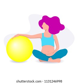 Vector illustration of a young pregnant woman sitting in a Lotus position and holds the  big ball in  his hands. Yoga for pregnant women, flat design
