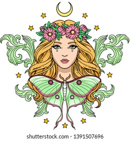 Vector illustration of young pretty girl in wreath with baroque elements, moon, luna moth and stars. Template for card, poster, banner, print for t-shirt.