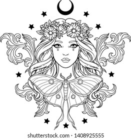 Vector illustration of young pretty girl in wreath with baroque elements, moon, luna moth and stars. Black outline for coloring