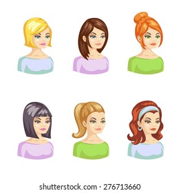 Vector illustration of young pretty woman with various hairstyle. Cartoon avatars set.