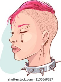 Vector illustration of a Young punk girl isolated