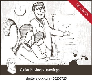 Vector illustration. Young speaker at a business meeting giving a presentation.
