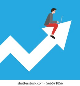A vector illustration of a young startup businessman working on a laptop riding an arrow pointing up in a graph chart. A concept of successful investment and increasing profit.