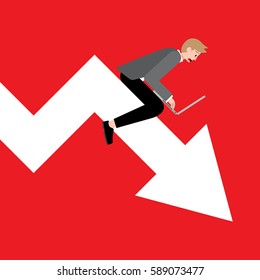 A vector illustration of a young startup businessman working on a laptop riding an arrow pointing down in a graph chart. A concept of fail investment , financial crisis, and decreasing profit.