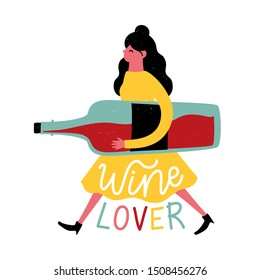Vector illustration with young walking woman in yellow dress holding huge red wine bottle. Wine lover lettering text. Funny colored typography poster, apparel print design, bar menu decoration