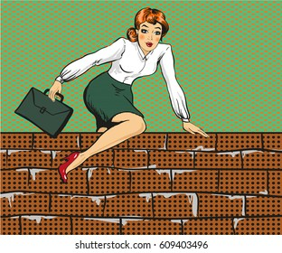 Vector illustration of young woman climbing over the fence or brick wall. Business woman overcoming challenges concept in retro pop art comic style.