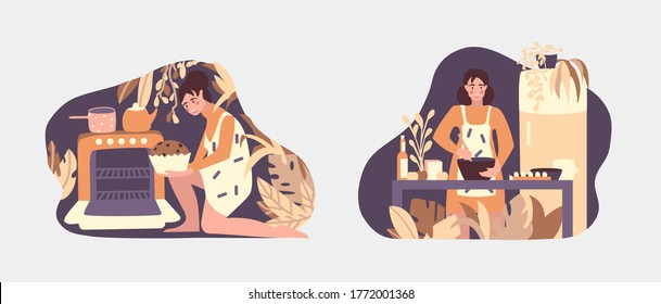 Vector illustration young woman cooking and backing on kitchen. Kitchen work concept. Home work with fun. Modern flat style.