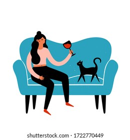 Vector illustration with young woman drinking red wine, blue sofa and black cat. Colored print design with grunge dots and domestic animal